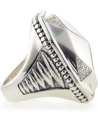 Lagos Elongated Pavé Diamond Octagon Ring - Lyst
