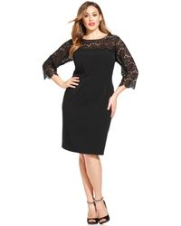 Anne Klein Plus Size Illusion-lace-panel Shift - Lyst