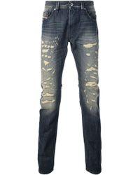 Diesel Ripped Effect Skinny Jeans - Lyst