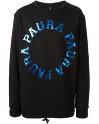 Paura Metallic Logo Print Sweatshirt - Lyst