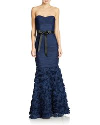 Js Collections Strapless Shirred Mesh Gown with Flowered Skirt - Lyst