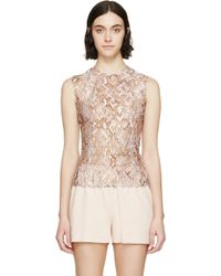 Mary Katrantzou Nude Embroidered Sheer Tulle Top - Lyst