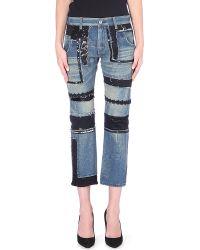 Junya Watanabe Patchwork Straight Cropped Denim Jeans Indego - Lyst