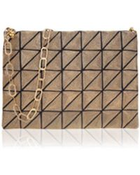 Anne Grand Clement   Golden Metal Fiber Clutch With Chain   Lyst