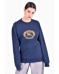 Burberry - Embroidered Cotton Blend Sweatshirt - Lyst
