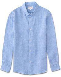 Derek Rose - Linen Shirt Monaco Pure Linen Blue - Lyst