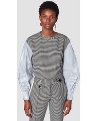 10 Crosby Derek Lam - Plaid Sweatshirt With Shirting Sleeves - Lyst