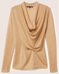 Derek Lam | Long Sleeve Sweater With Drape Front | Lyst