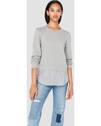 10 Crosby Derek Lam - Crewneck Sweatshirt With Shirt Hem - Lyst