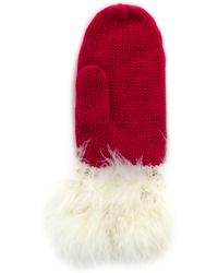 Kate Spade - Santa Mittens With Marabou Pom - Dynasty Red - Lyst