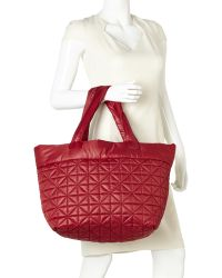 Nila Anthony - Oxblood Quilted Nylon Tote - Lyst