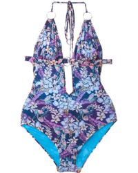 Matthew Williamson Floral-Print Swimsuit purple - Lyst