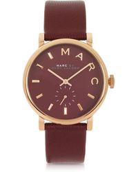 Marc By Marc Jacobs Baker Maroon Leather Ladies Watch - Lyst