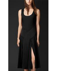 Burberry Silk Sateen Contrast Detail Dress - Lyst