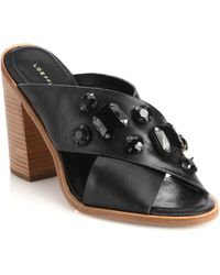Loeffler Randall Etta Jeweled Leather Crisscross Mules black - Lyst