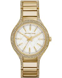 Michael Kors Womens Kerry Crystal Accent Gold-tone Stainless Steel Bracelet Watch 38mm - Lyst