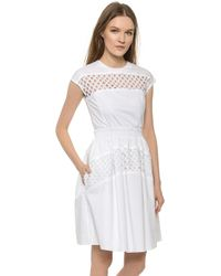 Carven Hemstitching Dress - White - Lyst