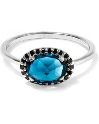 Anna Sheffield - London Blue Topaz And Black Diamond Pavé Amulet Ring - Lyst