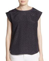 Rebecca Taylor Wildcat Silk & Jersey Top - Lyst