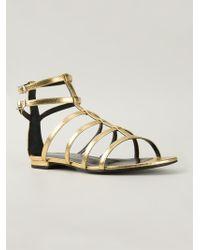 Saint Laurent Gold Gladiator Sandals - Lyst