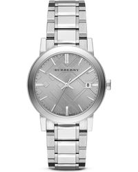 Burberry Stainless Steel Check Stamp Watch 38mm - Lyst