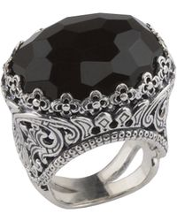 Konstantino - Silver Scrollwork Oval Onyx Ring - Lyst