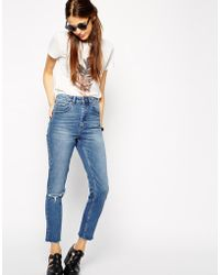 Asos Tall Farleigh High Waist Slim Mom Jeans In Mid Wash Blue With Busted Knees - Lyst