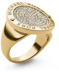 Michael Kors Pave Etched Logo Disc Ring - Lyst