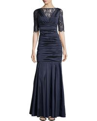 Theia Taffeta Gown with Lace Bodice - Lyst