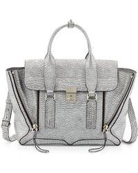 3.1 Phillip Lim Pashli Medium Leather Satchel Bag Silver - Lyst