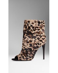 Burberry Animal Print Calfskin Peep-Toe Boots - Lyst