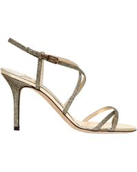 Jimmy Choo 85mm Elaine Glittered Sandals - Lyst