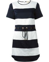 MICHAEL Michael Kors Short Striped Shift Dress - Lyst