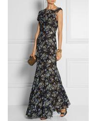 Vera Wang Floralprint Silkgeorgette Gown - Lyst
