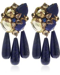Iradj Moini - Blue Lapis Lazuli And Citrine Three Drop Earrings - Lyst