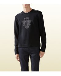 Gucci Cotton Jersey T-shirt with Leather Crest Detail - Lyst