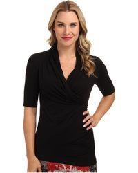 Karen Kane Elbow Sleeve Wrap Top - Lyst