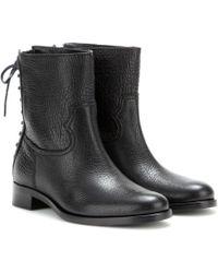 Miu Miu Textured Leather Boots - Lyst