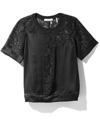 Rebecca Taylor Short Sleeve Lace Inset Top - Lyst