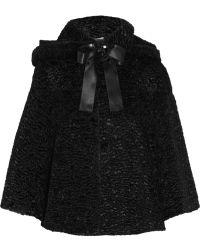 Alexander McQueen Bowembellished Faux Fur Jacket - Lyst