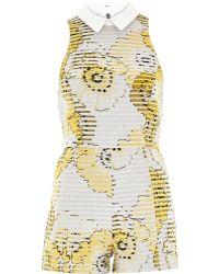 River Island Yellow Metallic Floral Print Playsuit - Lyst