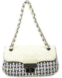 Chanel Pre-Owned White/Blue Woven Bag - Lyst