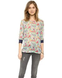 Equipment Liam Tee with Contrast Cuffs - Tropical Multi - Lyst