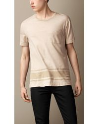 Burberry Naval Stripe Cotton Linen Tshirt - Lyst