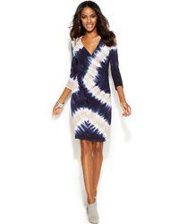 Inc International Concepts Tie-dye Faux-wrap Dress - Lyst