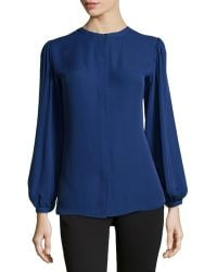 Halston Heritage Pleated Button-back Silk Top - Lyst
