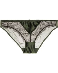 Heidi Klum Intimates Delicatesse Lace-Trimmed Stretch-Silk Satin And Tulle Briefs - Lyst