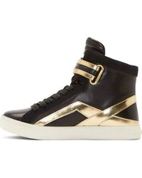 Pierre Balmain Black and Gold Leather High_top Sneakers - Lyst