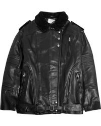 Iro Jameson Shearling-trimmed Leather Biker Jacket - Lyst