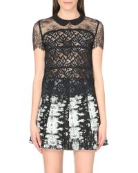 Sandro Embroidered Semi-sheer Lace Top - Lyst